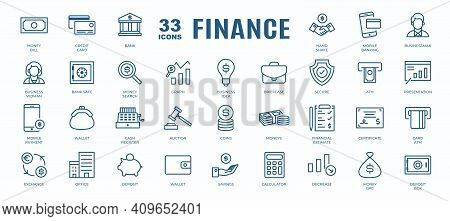 Simple Set Of Finance, Online Payment And Money Related Vector Line Icons. Contains Thin Icons As Ba