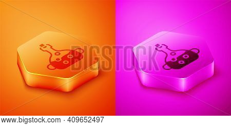 Isometric Poison In Bottle Icon Isolated On Orange And Pink Background. Bottle Of Poison Or Poisonou
