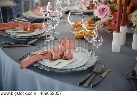 Fancy Table Set Of Glassware And Flower Compositions