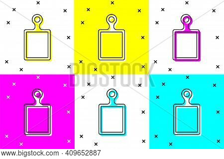 White Cutting Board Icon Isolated On White Background. Chopping Board Symbol. Square Color Button. V