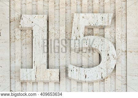 Cement Number 15. Gray Stone Wall. Fifteen. Concrete Texture Background. Address, Direction Superscr