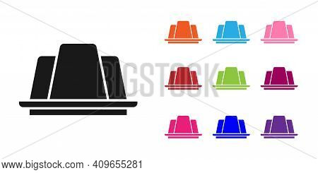 Black Jelly Cake Icon Isolated On White Background. Jelly Pudding. Set Icons Colorful. Vector