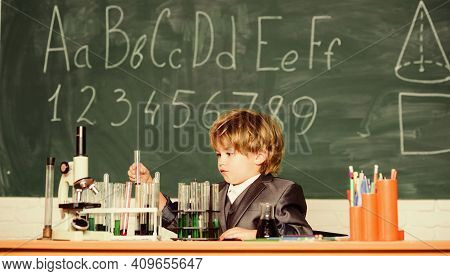 Little Boy Is Making Science Experiments. Little Boy At Lesson. Back To School. Biology Science. Sch