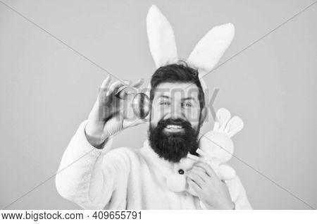 Bearded Man Wear Silly Bunny Ears. My Precious. Hipster Cute Bunny Long Ears Blue Background. Easter