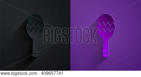 Paper Cut Maracas Icon Isolated On Black On Purple Background. Music Maracas Instrument Mexico. Pape