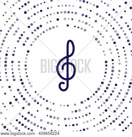 Blue Treble Clef Icon Isolated On White Background. Abstract Circle Random Dots. Vector