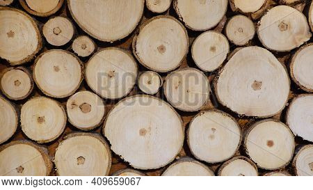 Wooden Background From Log Cabins. Dry Wooden Log Cabins.
