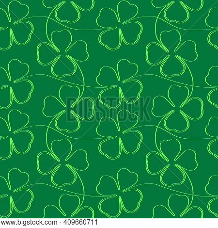 Four Leaf Clover Leaves. Seamless Texture. Stock Vector Illustration.