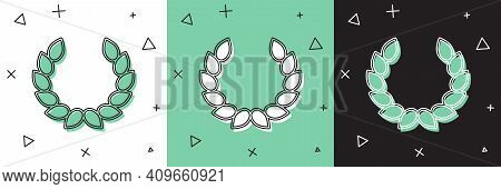 Set Laurel Wreath Icon Isolated On White And Green, Black Background. Triumph Symbol. Vector