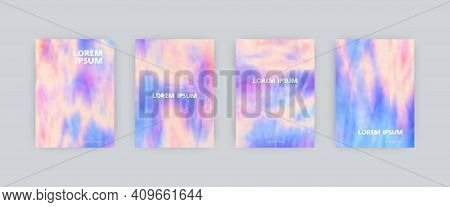 Set Of Vector Cover Templates. Soft Colors Splash Hand Painted Psychedelic Tie Dye Blurred Backgroun