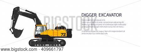 Digger Hydraulic Excavator With Dipper , Construction Equipment Banner, Vector Illustration