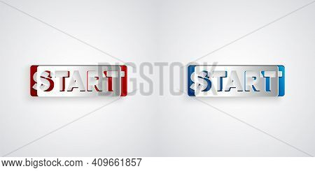 Paper Cut Ribbon In Finishing Line Icon Isolated On Grey Background. Symbol Of Finish Line. Sport Sy
