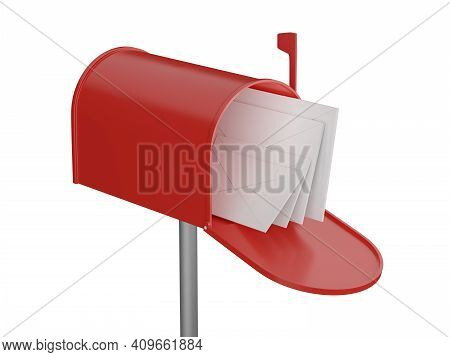 Mailbox With Letters. Open Red Postbox. 3d Render.