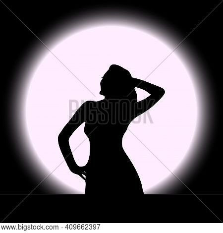 Vector Illustration Of A Black Silhouette Of A Beautiful Girl With Long Hair And Eyelashes Arched At