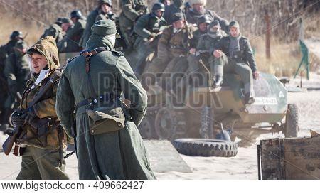 Kolobrzeg, West Pomeranian / Poland - 2018:  Reconstruction Of Battle For Kolobrzeg - Wehrmacht Sold