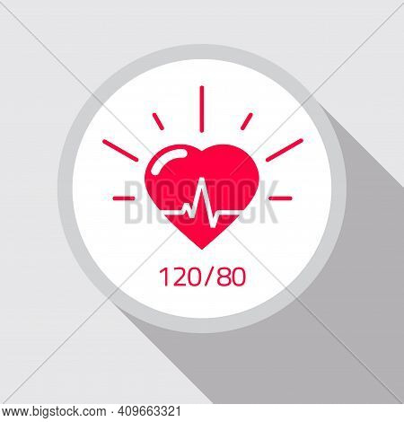 Health Icon Vector Flat Cartoon, Concept Of Heart And Good Blood Pressure Rate Medical Symbol, Pulse