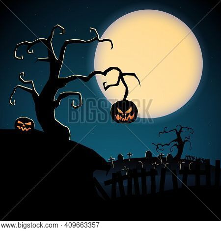 Cartoon Scary Happy Halloween Template With Dry Tree Evil Pumpkins And Graveyard On Moon Background