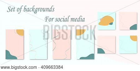 Set Of Backgrounds For Social Media Posts And Stories. Collection Abstract Vertical, Square Backgrou