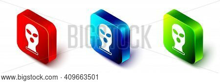 Isometric Balaclava Icon Isolated On White Background. A Piece Of Clothing For Winter Sports Or A Ma
