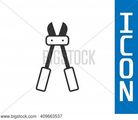Grey Bolt Cutter Icon Isolated On White Background. Scissors For Reinforcement Bars Tool. Vector