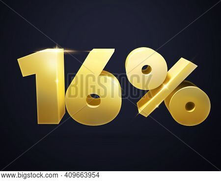 3d Number. 3d Illustration Of The Number 16 And Percent. Isolated  Golden Number 16 And Percent Sign