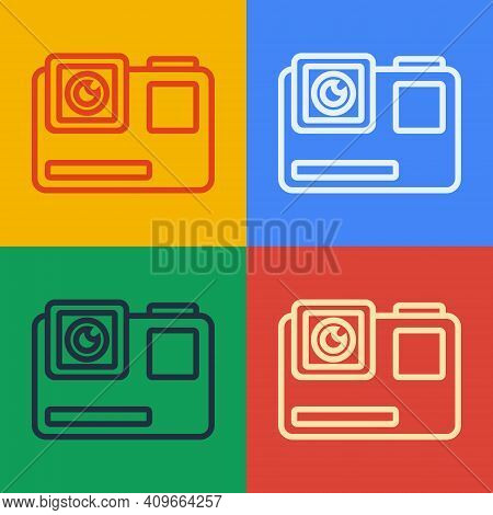 Pop Art Line Action Extreme Camera Icon Isolated On Color Background. Video Camera Equipment For Fil