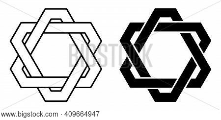Logo Tattoo Weaving Triangles With Cut Corners, Vector Connected Triangles, Star David With Cut Corn