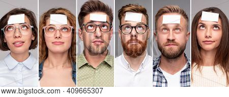 Collage Of Portraits Of Diverse Pensive People In Casual Clothes With White Stickers On Forehead Gue