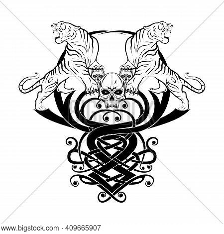Drawing Of Fierce Tigers On The Background Of A Celtic Pattern. The Hero's Skull. Nordic Grunge Styl
