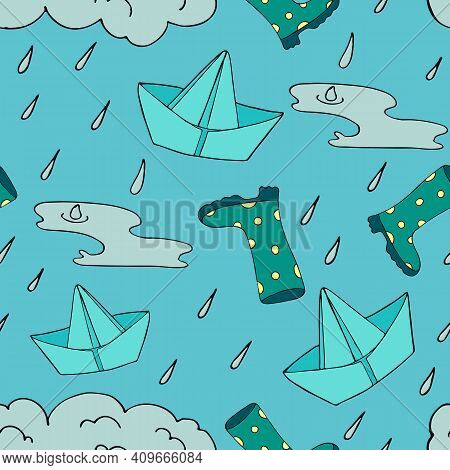 Spring Rain - Rubber Boots, Puddles, Paper Boats, Vector Seamless Pattern On A Blue Background, Dood