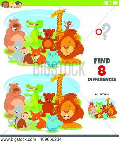 Cartoon Illustration Of Finding The Differences Between Pictures Educational Game For Children With