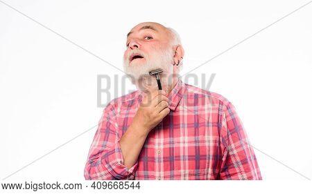 Grooming Beard. Barbershop Concept. Man Bearded Handsome Barber Carefully Use Tool Shaving Beard. Ba