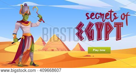 Secrets Of Egypt Computer Game Menu Interface With Ra Egyptian God In Desert With Pyramids And Play