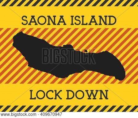 Saona Island Lock Down Sign. Yellow Island Pandemic Danger Icon. Vector Illustration.