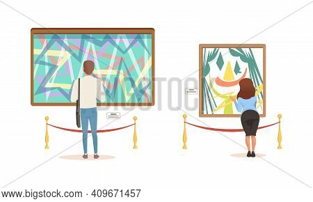 People Looking At Paintings At Exhibition, Visitors Viewing Exhibits At Modern Art Gallery Or Museum
