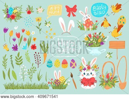 Cartoon Vector Easter Graphical Set With Rabbits