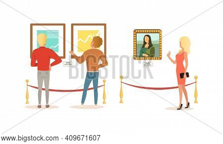 People Looking At Paintings At Exhibition, Visitors Viewing Exhibits At Museum Cartoon Vector Illust
