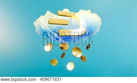 Digital Art Of Dash Logo Symbol. Rain Of Cryptocurrency Coin Dash 3d Illustration. Crypto Background