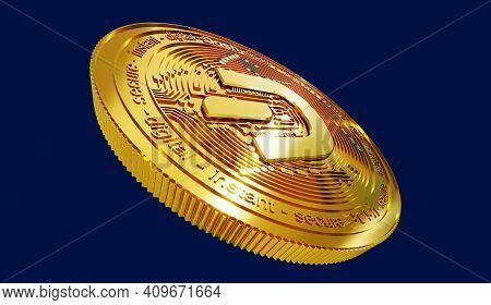 Digital Art Of Dash Logo Symbol. Cryptocurrency Coin Dash 3d Illustration. Crypto Background