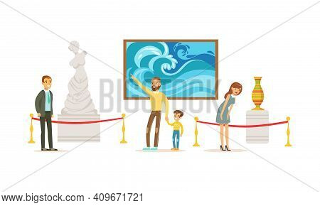 People Admiring Sculptures And Paintings At Exhibition, Visitors Viewing Exhibits At Art Gallery Or