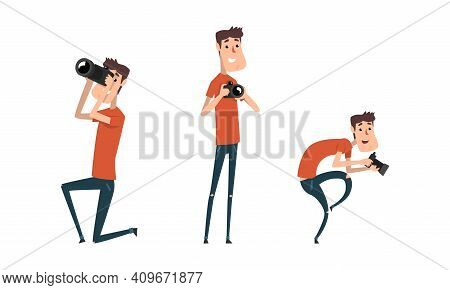 Man Paparazzi Taking Photo With Camera Set, Funny Photographer With Camera In Various Poses Cartoon