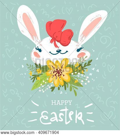 Cute Baby Rabbit Easter Greeting Card Design
