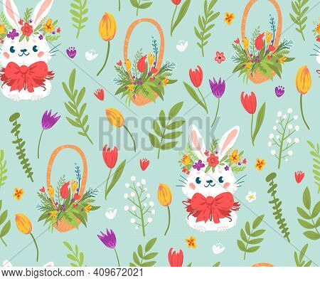 Cute Easter Rabbits And Flowers Seamless Pattern