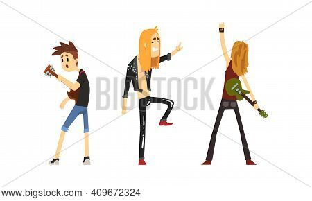 Rock Musicians Set, Rock Stars Characters Playing Guitar And Singing Cartoon Vector Illustration