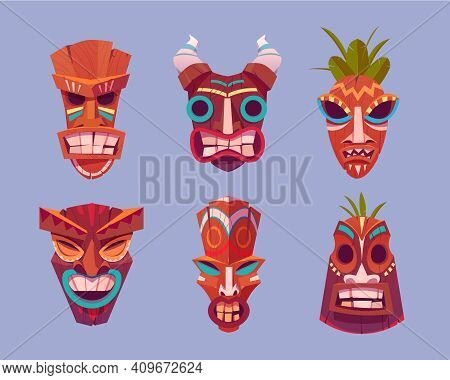 Tiki Masks, Hawaiian Tribal Totem, Wooden God Faces With Horns And Leaves. Vector Cartoon Set Of Pol