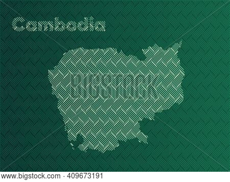 Cambodia Map With Green And Gold Oriental Geometric Simple Pattern And Abstract Waves