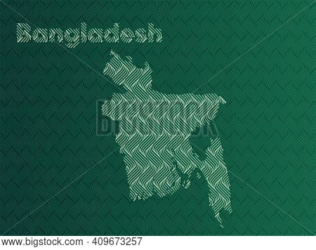 Bangladesh Map With Green And Gold Oriental Geometric Simple Pattern And Abstract Waves