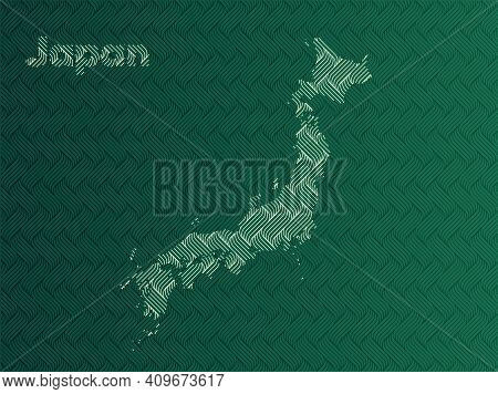Japan Map With Green And Gold Oriental Geometric Simple Pattern And Abstract Waves
