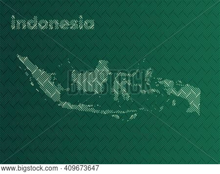 Indonesia Map With Green And Gold Oriental Geometric Simple Pattern And Abstract Waves