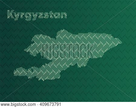 Kyrgyzstan Map With Green And Gold Oriental Geometric Simple Pattern And Abstract Waves